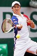 Paris, France. Roland Garros. June 1st 2013.<br /> Japanese player Kei NISHIKORI against Benoit PAIRE