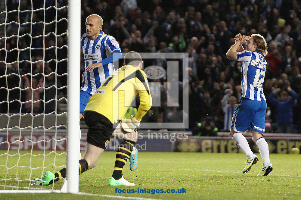 Picture by Paul Terry/Focus Images Ltd +44 7545 642257.02/11/2012.Craig Mackail-Smith ( R) of Brighton and Hove Albion celebrates after he scores the first goal during the npower Championship match at the American Express Community Stadium, Brighton and Hove.