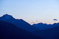 IFTE-NB-007870; Niall Benvie; panorama element; Alpine skyline from Kaunergrat visitor's centre; Austria; Europe; Austria; Tirol; mountain hill slope; horizontal; distant; blue; upland; 2008; July; summer; dusk evening; silhouette; Wild Wonders of Europe Naturpark Kaunergrat