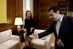 July 21, 2017 - Athens, Greece - Greek PM Alexis Tsipras meets high Representative of the European Union for Foreign Affairs and Security Policy and Vice-President of the European Commission, Federica Mogherini, at Maximos mansion in Athens, on July 21, 2017. (Credit Image: © Panayotis Tzamaros/NurPhoto via ZUMA Press)