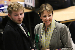 © Licensed to London News Pictures. 08/05/2015. Brighton, UK. The Green Party MP Caroline Lucas arrives with her son Isaac at the counting of the votes for the General Election, today May 8th 2015. Photo credit : Hugo Michiels/LNP