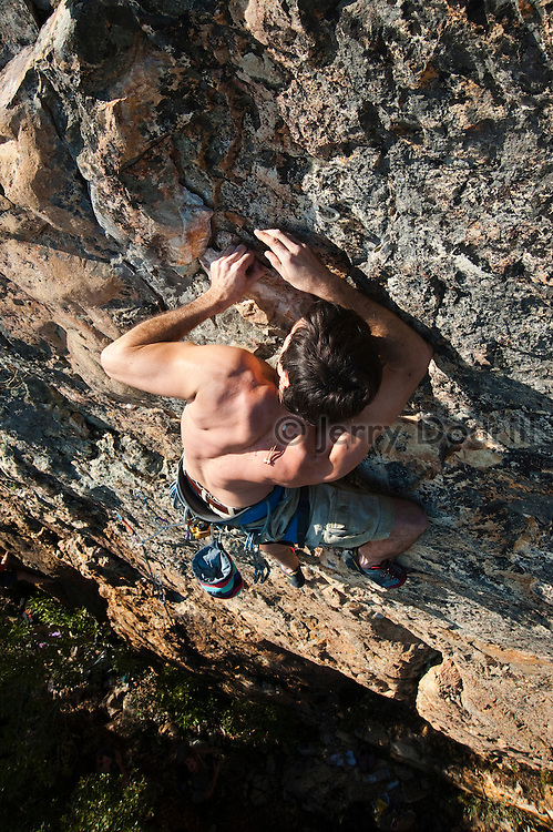 "Jonathan Lowell climbing ""Beast of Burden"" 5.11c, Bear Cliff, Mt St. Helena, Robert Louis Stevenson State Park, Napa Valley, California"
