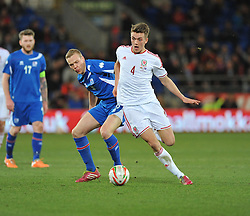Emyr Huws making his first cap for Wales (Manchester City) - Photo mandatory by-line: Alex James/JMP - Tel: Mobile: 07966 386802 05/03/2014 - SPORT - FOOTBALL - Cardiff - Cardiff City Stadium - Wales v Iceland - International Friendly