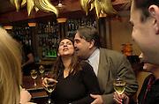 Anjali Kwatha. (?spelling)  and Charles Bray. Robert Hardman Telegraph goodbye party. Paparazzi Cafe. Hanover St. London W1. 11 January 2000. © Copyright Photograph by Dafydd Jones 66 Stockwell Park Rd. London SW9 0DA Tel 020 7733 0108 www.dafjones.com