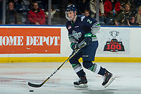 KELOWNA, CANADA - FEBRUARY 23:  Austin Strand #2 of the Seattle Thunderbirds skates with the puck against the Kelowna Rockets on February 23, 2018 at Prospera Place in Kelowna, British Columbia, Canada.  (Photo by Marissa Baecker/Shoot the Breeze)  *** Local Caption ***