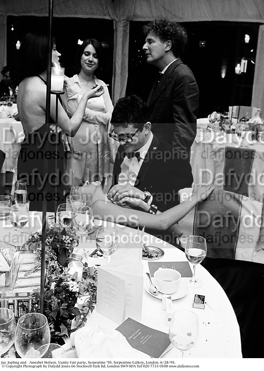 Jay Jopling and   Annabel Neilson. Vanity Fair party, Serpentine Ô95. Serpentine Gallery, London. 6/28/95. © Copyright Photograph by Dafydd Jones 66 Stockwell Park Rd. London SW9 0DA Tel 020 7733 0108 www.dafjones.com