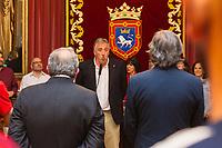 Osasuna's president, Luis Sabalza, Enrique Martin, and Joseba Asiron, mayor of Pamplona during the celebration for promotion to La Liga BBVA on the city hall of Pamplona . 19,06,2016. (ALTERPHOTOS/Rodrigo Jimenez)