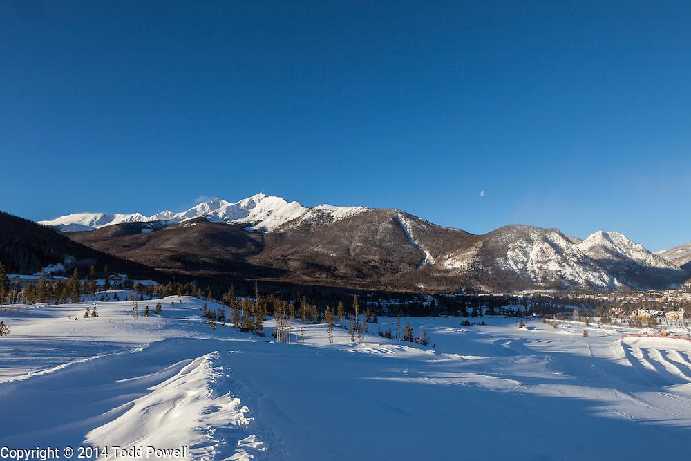 View from Frisco Adventure Park to Frisco, Ten Mile Range, Colorado