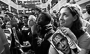 Lauren McGill and other students listen to the senator during a rally at George Mason University in Virginia in February 2007. Filmed by a ?60 Minutes? crew, the event was held a week before Obama officially declared that he was running for president...(Photo by Pete Souza)