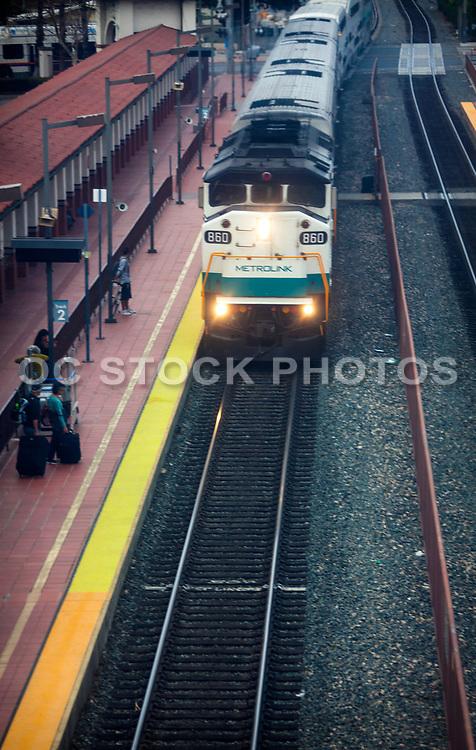 Metrolink Train Pulling Into Station Track 2