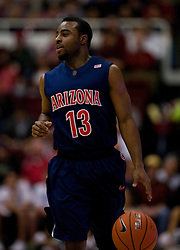 February 27, 2010; Stanford, CA, USA;  Arizona Wildcats guard Nic Wise (13) during the first half against the Stanford Cardinal at Maples Pavilion. Arizona defeated Stanford 71-69.