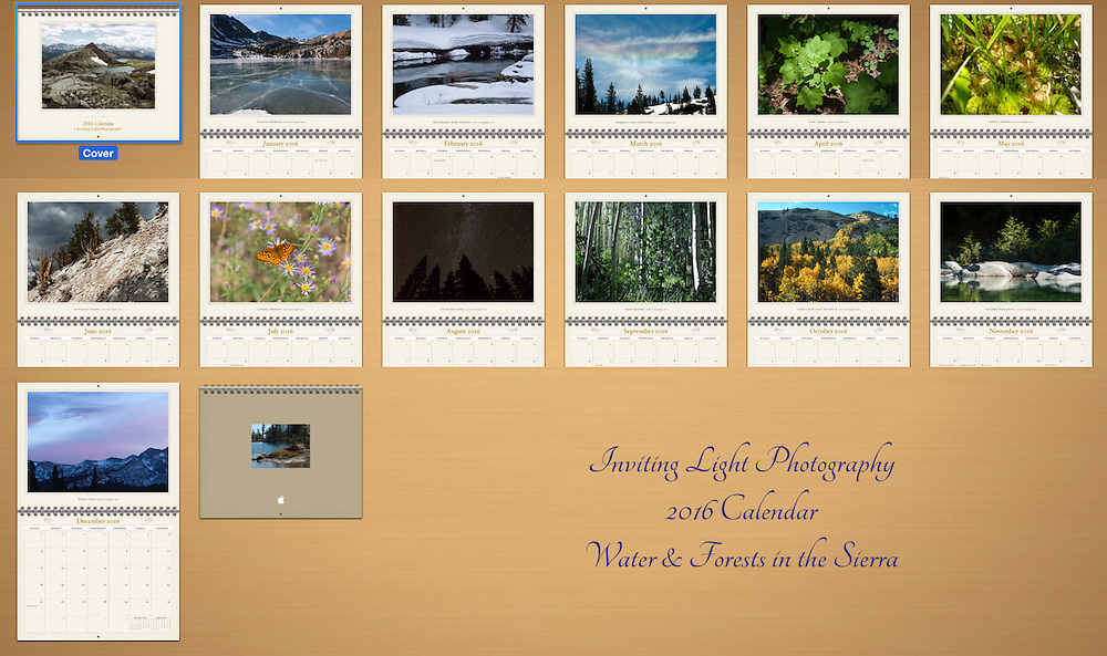 View of images on the calendar's internal pages - 12 months
