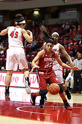 30 January 2015:  Leti Lerma temporarily looses control of the ball during an NCAA women's basketball game between the Bradley Braves and the Illinois Sate Redbirds at Redbird Arena in Normal IL