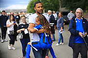 Chantelle Thompson greats Dad Joe with a hug during the Joe Thompson's Allstars v Joe Thompson's Celebrity 11 in Rochdale at the Crown Oil Arena, Rochdale, England on 21 July 2019.