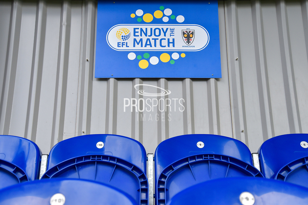 Enjoy the match EFL during the EFL Sky Bet League 1 match between AFC Wimbledon and Portsmouth at the Cherry Red Records Stadium, Kingston, England on 9 September 2017. Photo by Adam Rivers.