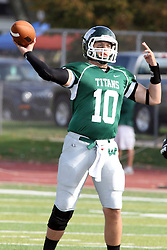 12 October 2013:  Rob Gallik pumps to pass during an NCAA division 3 football game between the North Park vikings and the Illinois Wesleyan Titans in Tucci Stadium on Wilder Field, Bloomington IL