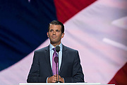 Donald Trump, Jr. son of Donald Trump and his first wife Ivana Trump, addresses delegates on the second day of the Republican National Convention July 19, 2016 in Cleveland, Ohio. Earlier in the day the delegates formally nominated Donald J. Trump for president.