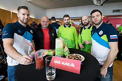 Robert Sabolic, Klemen Ticar, Gasper Kroselj, Andrej Hebar and Rok Ticar at departure of Slovenian Olympic team to PyeongChang, on February 6, 2018 in Aerodrom Ljubljana, Cerklje na Gorenjskem, Slovenia. Photo by Matic Klansek Velej / Sportida