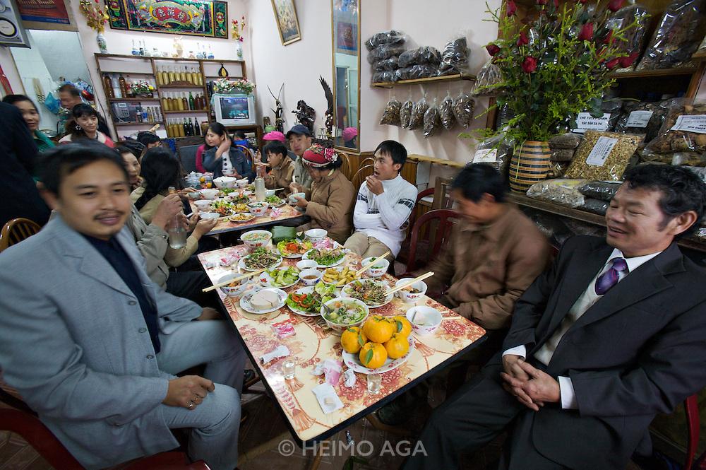 Sapa Market. Festive meal at a restaurant.
