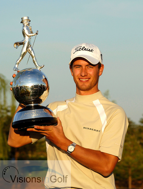 24 April 2005. Johnnie Walker Classic, Pine Valley Golf Club, Beijing, China. Adam Scott with trophy.<br /> Mandatory credit: Richard Castka/Visions In Golf