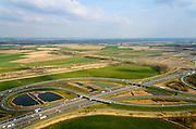 Nederland, Noord-Brabant, Gemeente Moerdijk, 01-04-2016; knooppunt Klaverpolder, A17 (van rechts) met A16 (diagonaal).<br /> Klaverpolder junction.<br /> <br /> luchtfoto (toeslag op standard tarieven);<br /> aerial photo (additional fee required);<br /> copyright foto/photo Siebe Swart
