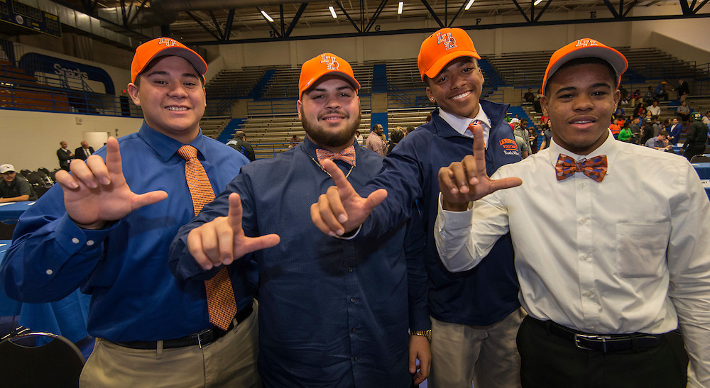 Waltrip High School football players committed to Langston University during Athletic Signing Day at the Pavilion, February 1, 2017.