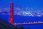 Image of the Golden Gate Bridge and city skyline in San Francisco, California, America west coast (tilt shift focus)