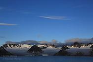 Glaciers and mountains line Smeerenburgfjorden on the north coast of Spitsbergen island; Svalbard, Norway.