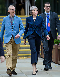 © Licensed to London News Pictures. 02/10/2017. Manchester, UK. British prime minister THERESA MAY and her husband PHILIP MAY seen on  the second day of the Conservative Party Conference. The four day event is expected to focus heavily on Brexit, with the British prime minister hoping to dampen rumours of a leadership challenge. Photo credit: Ben Cawthra/LNP