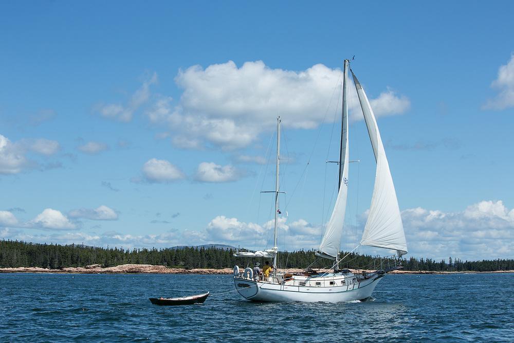 Mount Dessert Island, ME - 9 August 2014. Ketch Dream On, of Friendship, Maine, passing Bass Harbor Head Light.