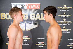 Tomi Lorencic of Slovenia and Damjan Perencevic of Serbia pose during Official weighting ceremony one day before Dejan Zavec Boxing Gala event in Laško, on April 20, 2017 in Thermana Lasko, Slovenia. Photo by Vid Ponikvar / Sportida