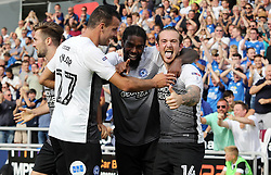 Jack Marriott of Peterborough United celebrates scoring his goal with team-mate Anthony Grant - Mandatory by-line: Joe Dent/JMP - 26/08/2017 - FOOTBALL - Sixfields Stadium - Northampton, England - Northampton Town v Peterborough United - Sky Bet League One