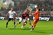 Mark Howard (33) of Bolton Wanderers makes a save from Famara Diedhiou (9) of Bristol City during the EFL Sky Bet Championship match between Bristol City and Bolton Wanderers at Ashton Gate, Bristol, England on 26 September 2017. Photo by Graham Hunt.