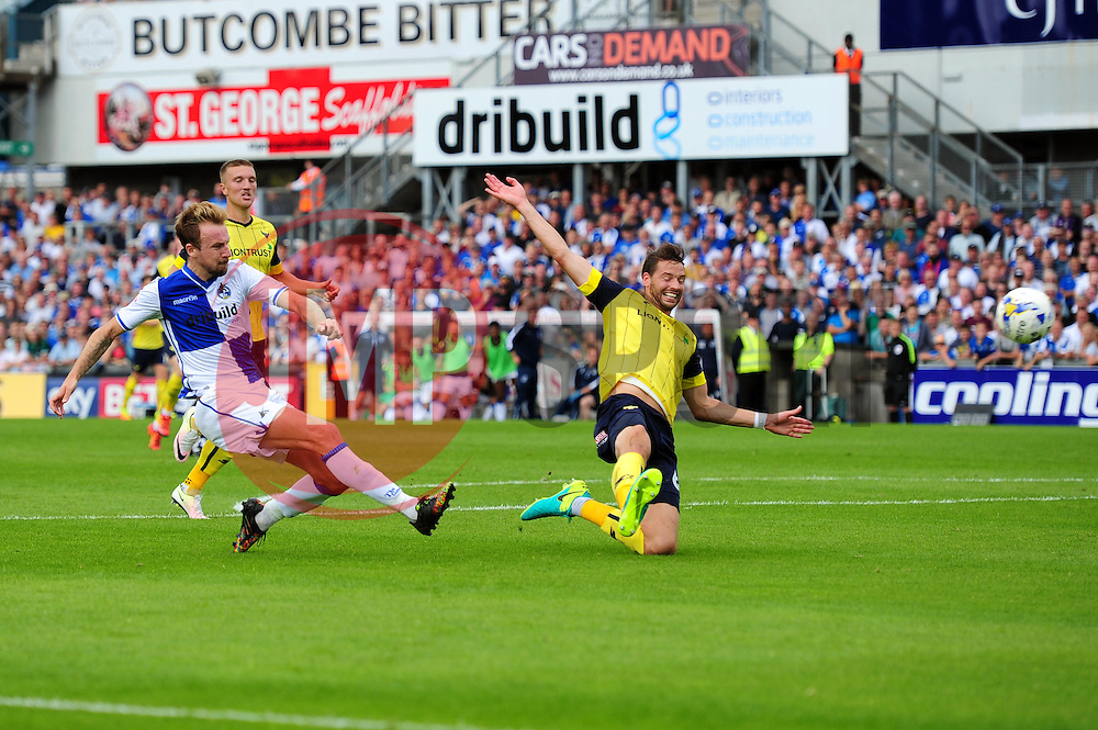 Chris Lines of Bristol Rovers takes a shot at goal - Mandatory by-line: Dougie Allward/JMP - 14/08/2016 - FOOTBALL - Memorial Stadium - Bristol, England - Bristol Rovers v Oxford United - Sky Bet League One
