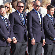 Ryder Cup 2016. The United States team during the Ryder Cup opening ceremony at the Hazeltine National Golf Club on September 29, 2016 in Chaska, Minnesota.  (Photo by Tim Clayton/Corbis via Getty Images)