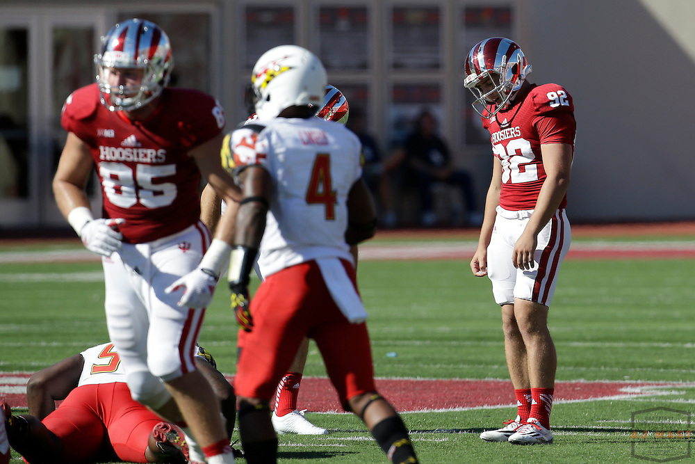 27 September 2014: Indiana Hoosiers place kicker Griffin Oakes (92) as the Indiana Hoosiers played Maryland in a college football game in Bloomington, IN.