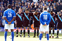 """BIRMINGHAM CITY V LEICESTER CITY PREMIER 13/03/04<br /> LEICESTER PLAYERS INCLUDING NIKOS DABIZAS  ONE OF THE """"LA MANGA 9"""") OBSERVE A MINUTES SILENCE FOR THE TERRIBLE TRAGEDY IN SPAIN<br /> PHOTO ROGER DIGITALSPORT"""