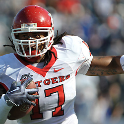 Oct 31, 2009; East Hartford, CT, USA; Rutgers linebacker Damaso Munoz (17) runs after intercepting a Connecticut pass during first half Big East NCAA football action between Rutgers and Connecticut at Rentschler Field.