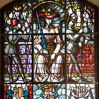 Spain's Queen Isabella is depicted in stained glass in the Alcazar in Segovia, Spain.