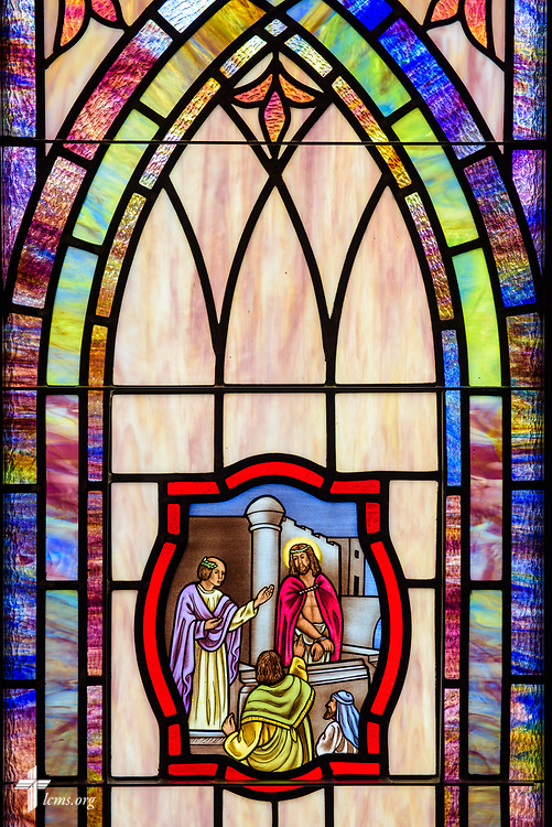Stained glass depicting Jesus before Pilate (Luke 23) at St. John's Lutheran Church, Conover, N.C, on Friday, April 21, 2017. LCMS Communications/Erik M. Lunsford