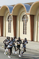 6 March, 2005: LA Marathon winner #5 Mark Saina from Kenya leads a group of runners past West Angeles Church during the 20th running of the LA Marathon  in Los Angeles, CA...