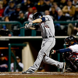 Mar 7, 2013; Lake Buena Vista, FL, USA; Detroit Tigers second baseman Jeff Kobernus (46) breaks his bat on a single against the Atlanta Braves during the top of the fifth inning of a spring training game at Champion Stadium. Mandatory Credit: Derick E. Hingle-USA TODAY Sports
