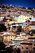 Houses are crammed onto the steep hillsides of VALPARAISO, CHILE.