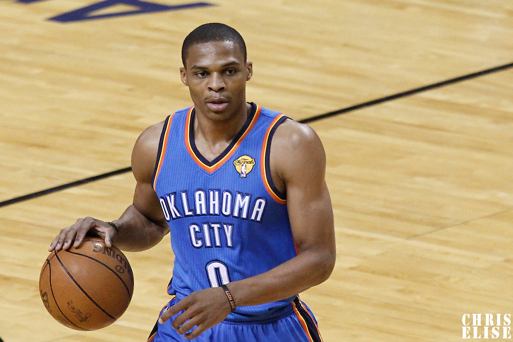 17 June 2012: Oklahoma City Thunder point guard Russell Westbrook (0) is seen during the Miami Heat 91-85 victory over the Oklahoma City Thunder, in Game 3 of the 2012 NBA Finals, at the AmericanAirlinesArena, Miami, Florida, USA.