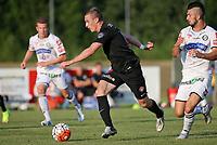 Fotball<br /> 01.07.2015<br /> Foto: Gepa/Digitalsport<br /> NORWAY ONLY<br /> <br /> SK Sturm Graz vs FC Midtjylland, test match. <br /> <br /> Image shows Martin Pusic (Midtjylland) and Marvin Potzmann (Sturm).