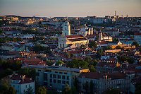 Vilnius, Lithuania- June, 2015: THe sun sets on the old town of Vilnius, which was recognized as an UNESCO World Heritage site in 1994. While much of the surrounding area still bears the marks of the Soviet days, the old town offers vibrant new offerings on a backdrop of Gothic, Renaissance, Baroque and classical architecture. CREDIT: Chris Carmichael for The New York Times