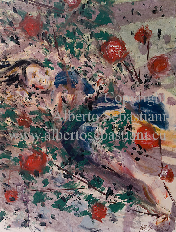 hand painted picture representing a girl lying on the ground beneath a rosery. this painting was created as a hand made work following exclusively my own fantasy and personal inspiration; it is an original composition of which I'm the sole author