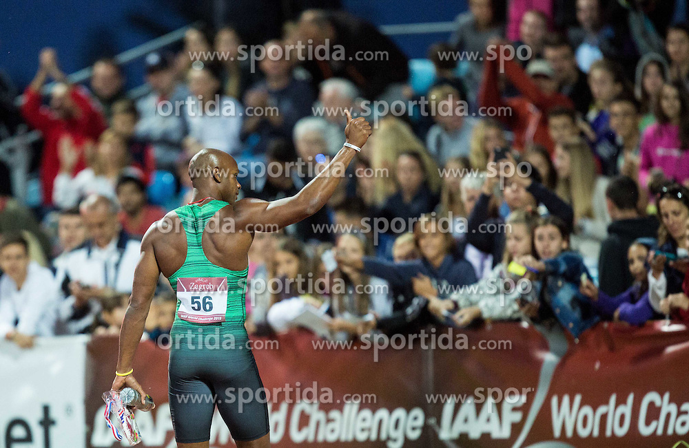 Asafa Powell of Jamaica celebrates after winning in 100m Men during IAAF World Challenge Zagreb - The 65th Hanzekovic Memorial Meeting, on September 8, 2015, in Stadium Mladost, Zagreb, Croatia. Photo by Vid Ponikvar / Sportida