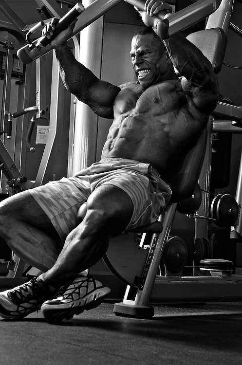 San Diego Fitness Photographer: Dave Henry Seated Chess Press for 4 Dimension Nutrition in Las Vegas, NC