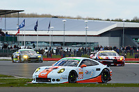 Michael Wainwright (GBR) / Adam Carroll (GBR) / Ben Barker (GBR) #86 Gulf Racing UK Porsche 911 RSR, during during the first hour or the race  as part of the WEC 6 Hours of Silverstone 2016 at Silverstone, Towcester, Northamptonshire, United Kingdom. April 17 2016. World Copyright Peter Taylor.